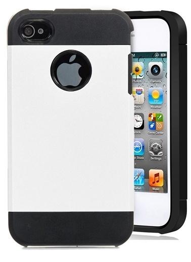 Microsonic Slim Fit Dual Layer Armor iPhone  4 & 4S Kılıf Beyaz Renkli